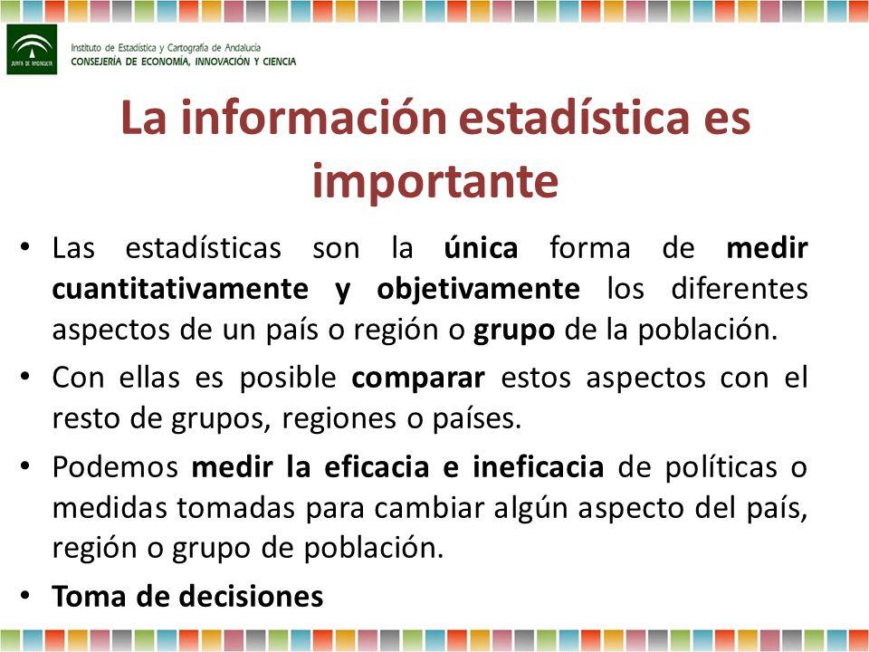 La información estadística es importante Las estadísticas son la única forma de medir cuantitativamente y objetivamente los diferentes aspectos de un