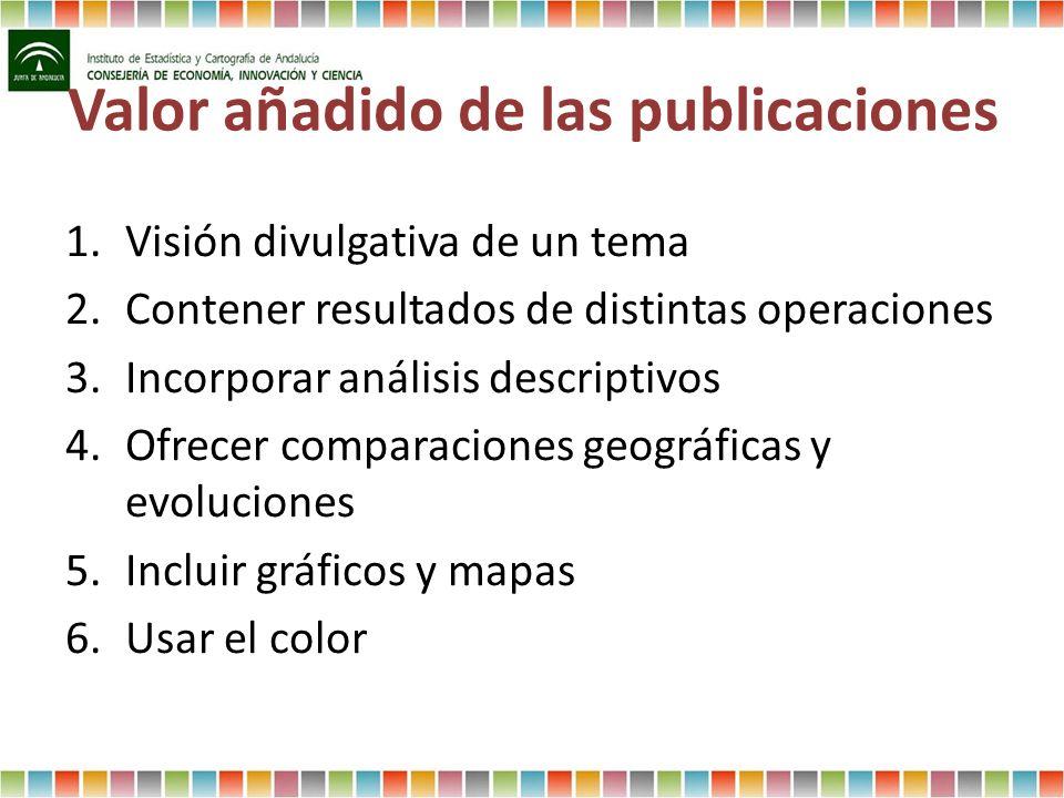 Valor añadido de las publicaciones 1.Visión divulgativa de un tema 2.Contener resultados de distintas operaciones 3.Incorporar análisis descriptivos 4