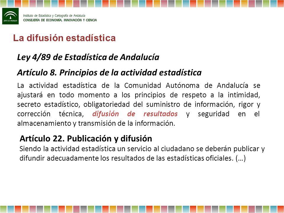Ley 4/89 de Estadística de Andalucía Artículo 8. Principios de la actividad estadística La actividad estadística de la Comunidad Autónoma de Andalucía