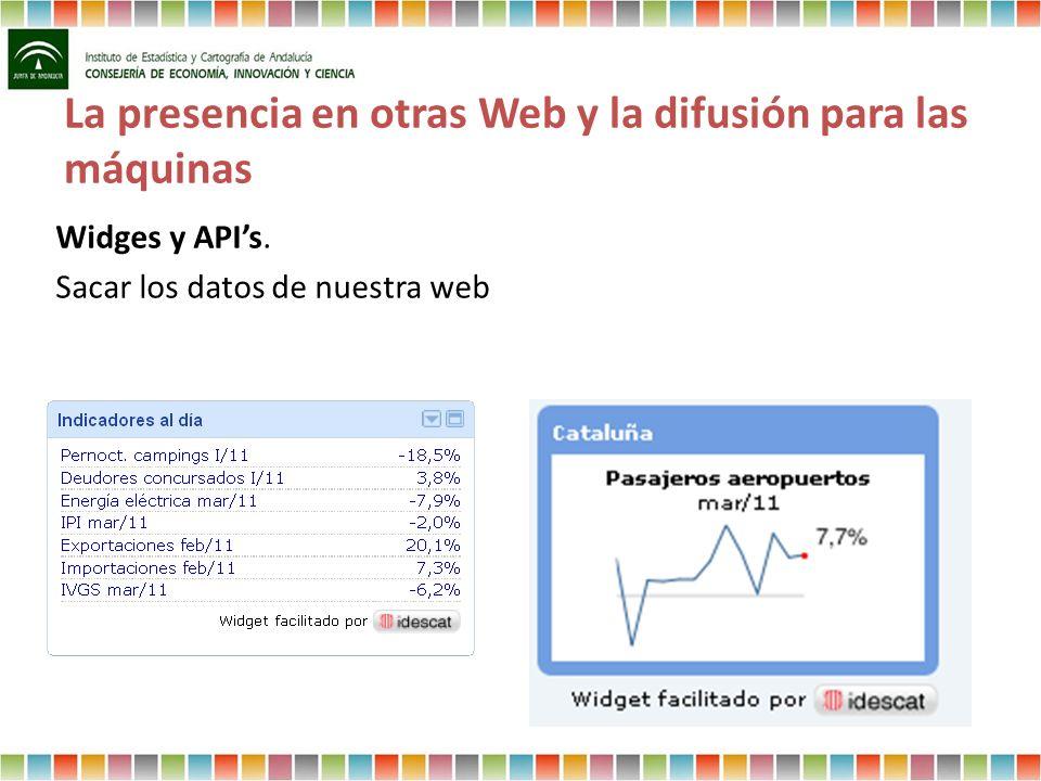 La presencia en otras Web y la difusión para las máquinas Widges y APIs. Sacar los datos de nuestra web