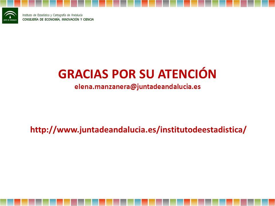 GRACIAS POR SU ATENCIÓN elena.manzanera@juntadeandalucia.es http://www.juntadeandalucia.es/institutodeestadistica/