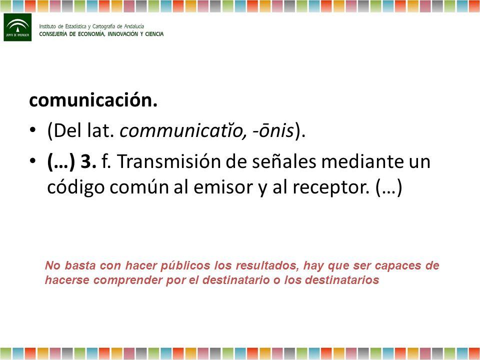 comunicación. (Del lat. communicatĭo, -ōnis). (…) 3. f. Transmisión de señales mediante un código común al emisor y al receptor. (…) No basta con hace