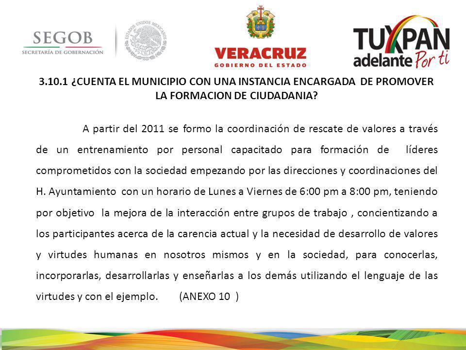 3.10.1 ¿CUENTA EL MUNICIPIO CON UNA INSTANCIA ENCARGADA DE PROMOVER LA FORMACION DE CIUDADANIA.