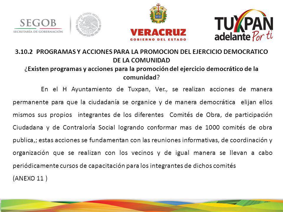 3.10.2 PROGRAMAS Y ACCIONES PARA LA PROMOCION DEL EJERCICIO DEMOCRATICO DE LA COMUNIDAD ¿Existen programas y acciones para la promoción del ejercicio democrático de la comunidad.