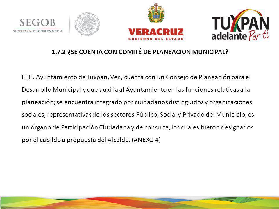 1.7.2 ¿SE CUENTA CON COMITÉ DE PLANEACION MUNICIPAL.