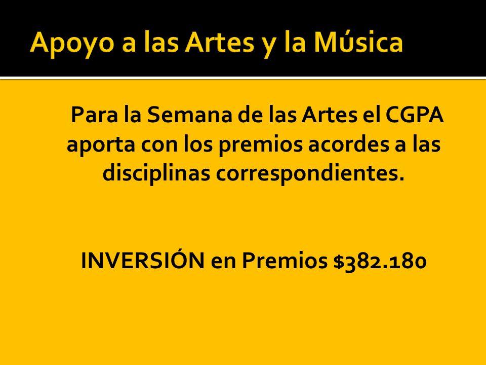 Para la Semana de las Artes el CGPA aporta con los premios acordes a las disciplinas correspondientes. INVERSIÓN en Premios $382.180