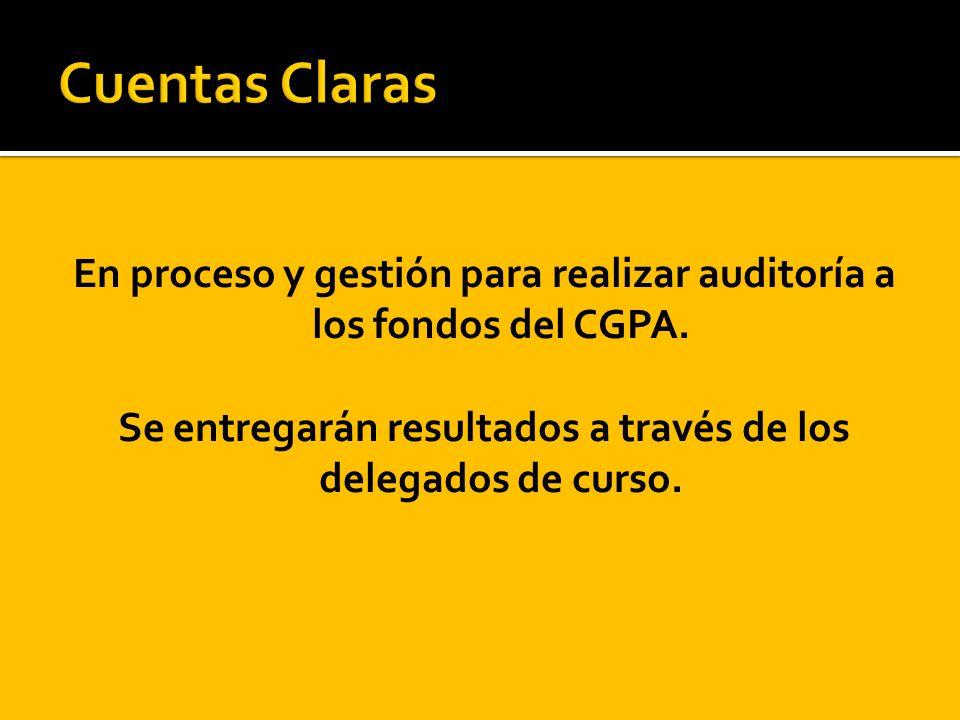 En proceso y gestión para realizar auditoría a los fondos del CGPA. Se entregarán resultados a través de los delegados de curso.