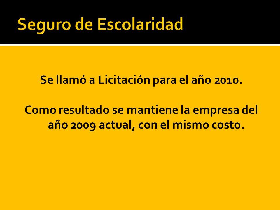 Se llamó a Licitación para el año 2010. Como resultado se mantiene la empresa del año 2009 actual, con el mismo costo.