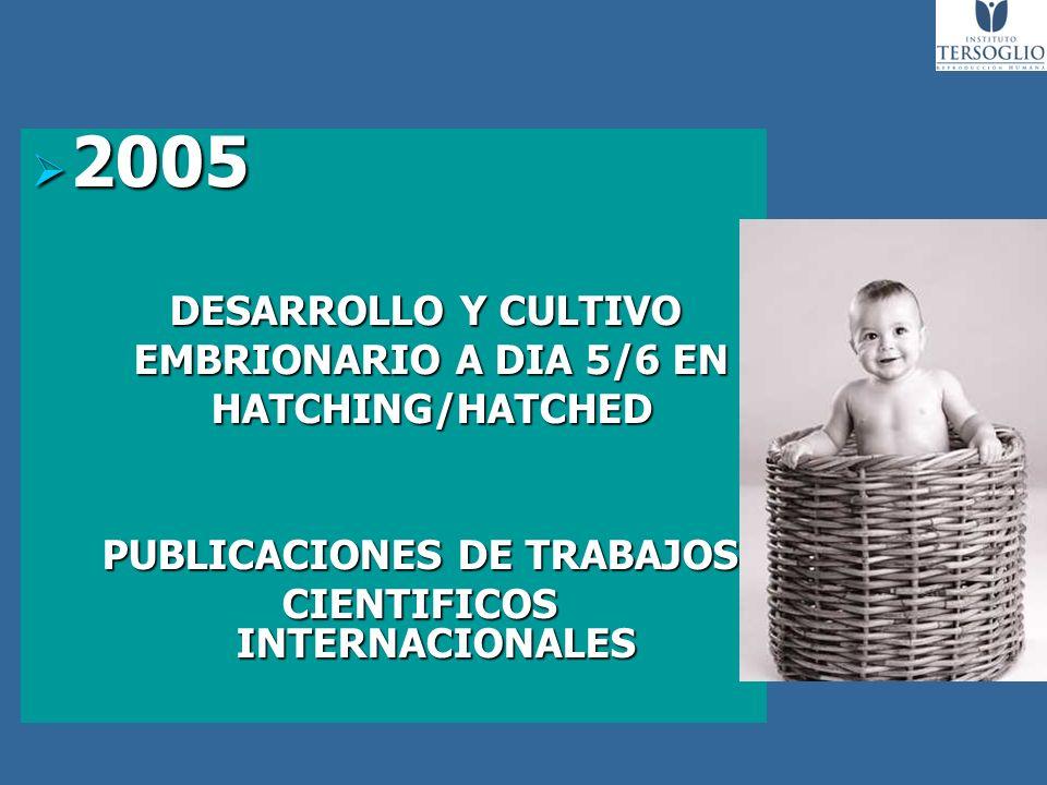 2005 2005 DESARROLLO Y CULTIVO DESARROLLO Y CULTIVO EMBRIONARIO A DIA 5/6 EN EMBRIONARIO A DIA 5/6 EN HATCHING/HATCHED HATCHING/HATCHED PUBLICACIONES