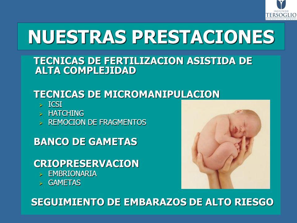 NUESTRAS PRESTACIONES TECNICAS DE FERTILIZACION ASISTIDA DE ALTA COMPLEJIDAD TECNICAS DE FERTILIZACION ASISTIDA DE ALTA COMPLEJIDAD TECNICAS DE MICROM