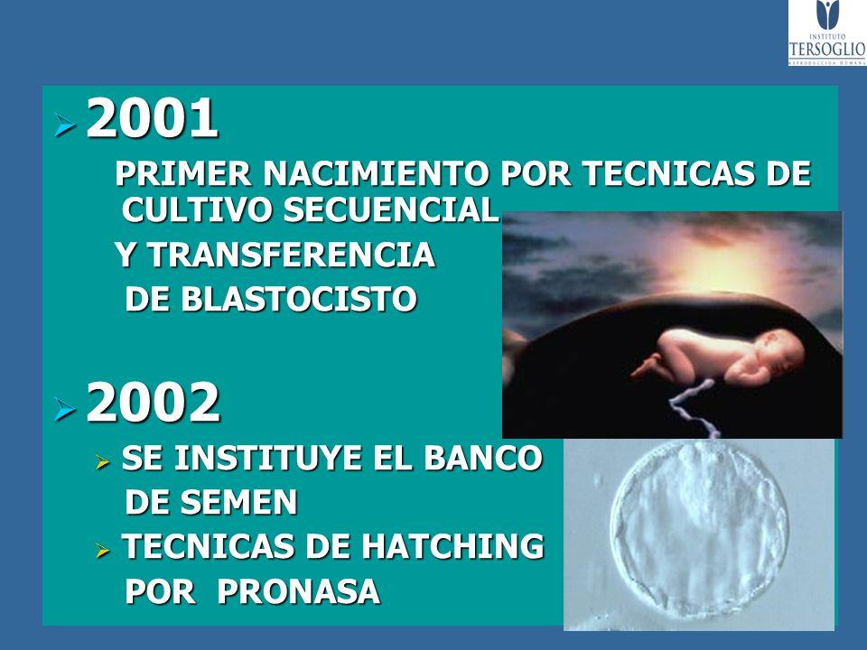 2001 2001 PRIMER NACIMIENTO POR TECNICAS DE CULTIVO SECUENCIAL PRIMER NACIMIENTO POR TECNICAS DE CULTIVO SECUENCIAL Y TRANSFERENCIA Y TRANSFERENCIA DE