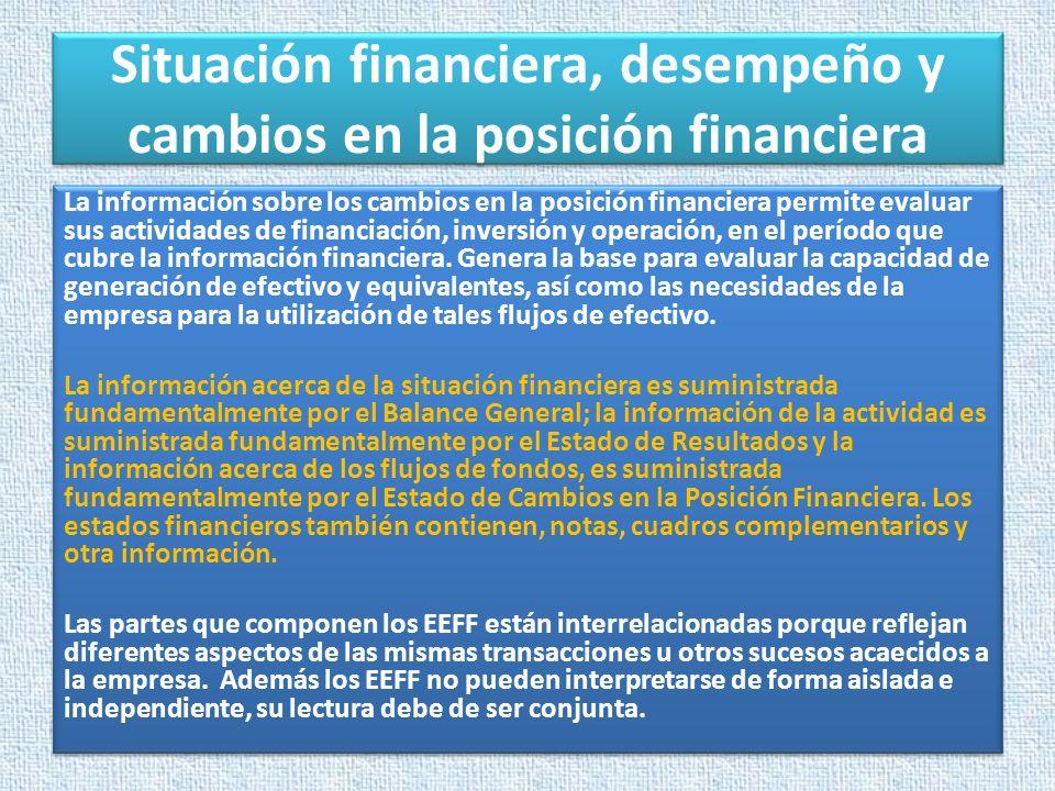 Situación financiera, desempeño y cambios en la posición financiera La información sobre los cambios en la posición financiera permite evaluar sus act
