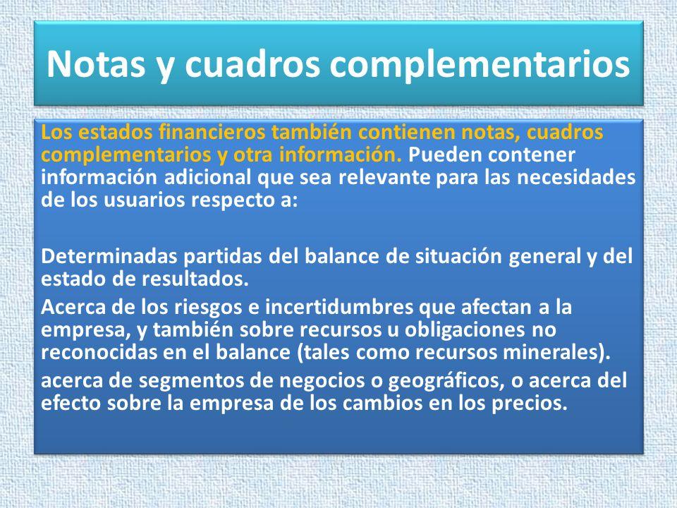 Notas y cuadros complementarios Los estados financieros también contienen notas, cuadros complementarios y otra información. Pueden contener informaci