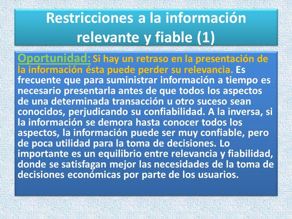 Restricciones a la información relevante y fiable (1) Oportunidad: Si hay un retraso en la presentación de la información ésta puede perder su relevan