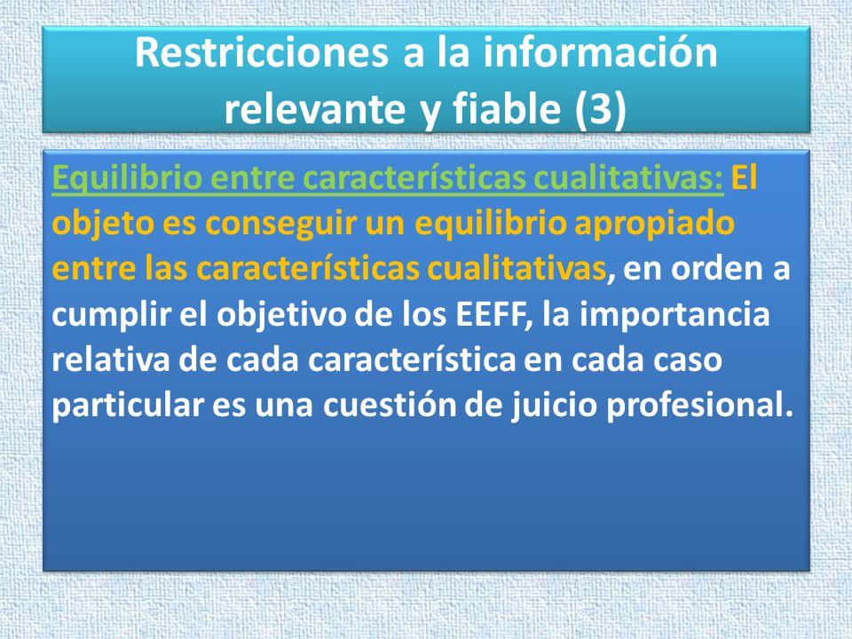 Restricciones a la información relevante y fiable (3) Equilibrio entre características cualitativas: El objeto es conseguir un equilibrio apropiado en