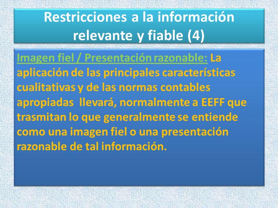 Restricciones a la información relevante y fiable (4) Imagen fiel / Presentación razonable: La aplicación de las principales características cualitati