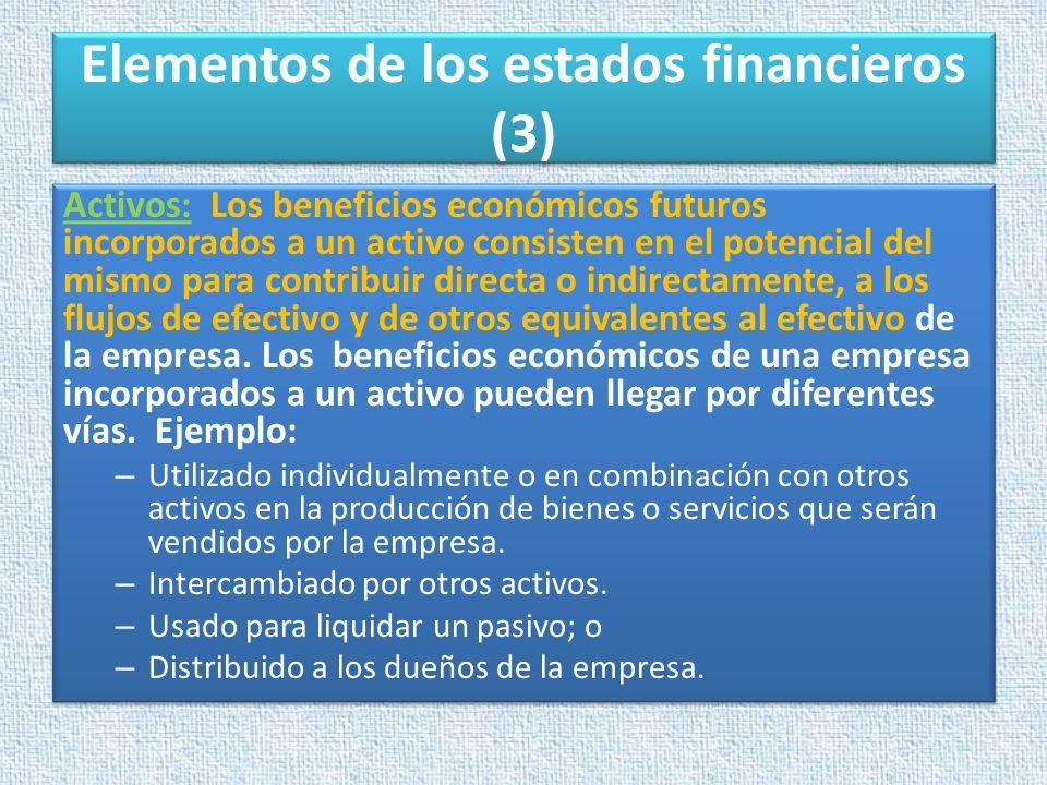 Elementos de los estados financieros (3) Activos: Los beneficios económicos futuros incorporados a un activo consisten en el potencial del mismo para