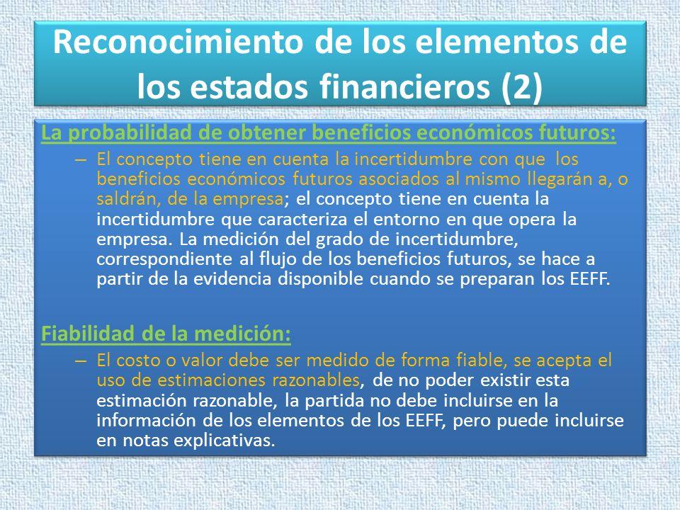 Reconocimiento de los elementos de los estados financieros (2) La probabilidad de obtener beneficios económicos futuros: – El concepto tiene en cuenta