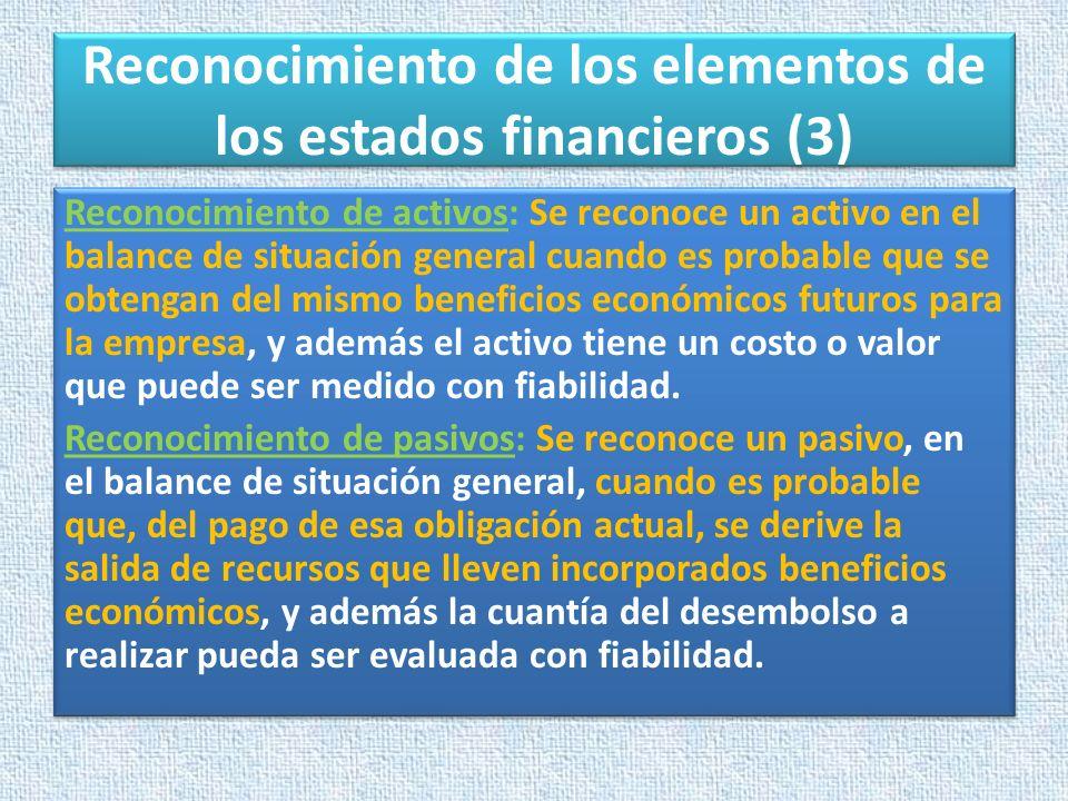 Reconocimiento de los elementos de los estados financieros (3) Reconocimiento de activos: Se reconoce un activo en el balance de situación general cua