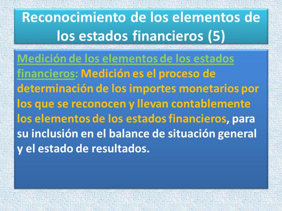 Reconocimiento de los elementos de los estados financieros (5) Medición de los elementos de los estados financieros: Medición es el proceso de determi