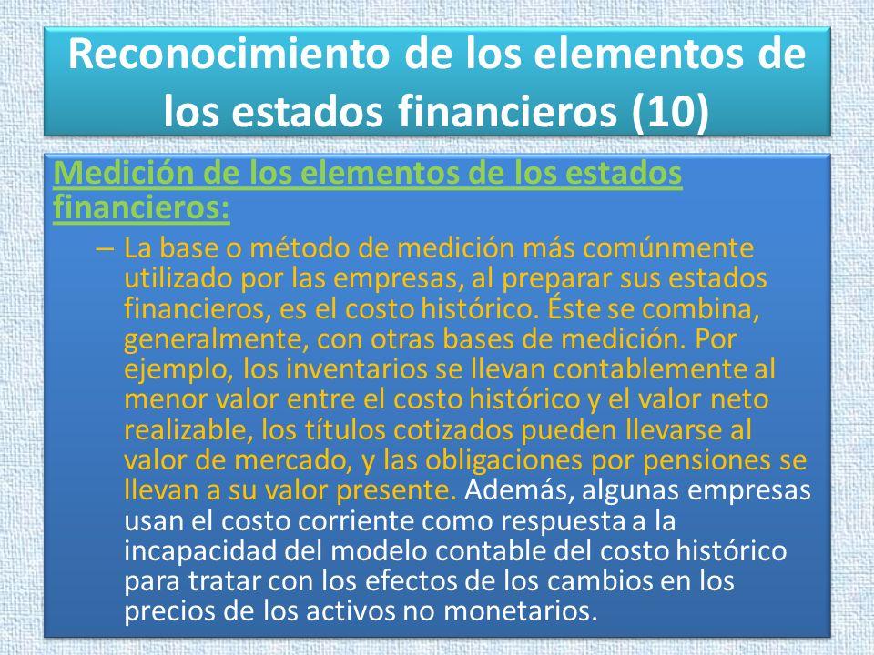 Reconocimiento de los elementos de los estados financieros (10) Medición de los elementos de los estados financieros: – La base o método de medición m