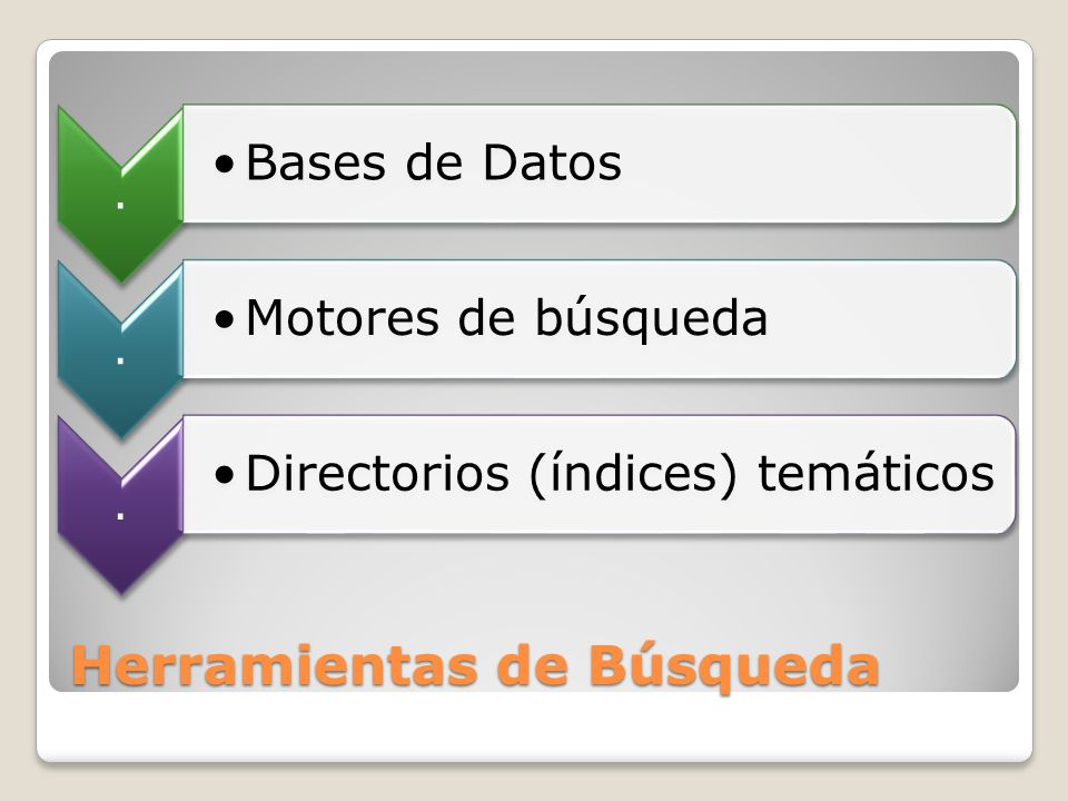 Herramientas de Búsqueda. Bases de Datos. Motores de búsqueda. Directorios (índices) temáticos