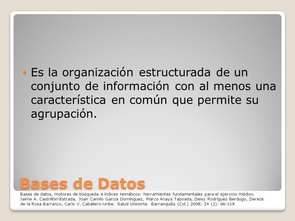 Bases de Datos Es la organización estructurada de un conjunto de información con al menos una característica en común que permite su agrupación. Bases