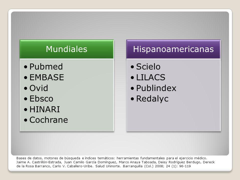 Mundiales Pubmed EMBASE Ovid Ebsco HINARI Cochrane Hispanoamericanas Scielo LILACS Publindex Redalyc Bases de datos, motores de búsqueda e índices tem