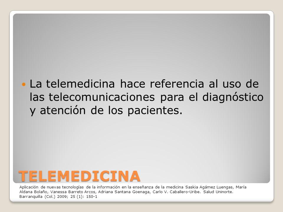 TELEMEDICINA La telemedicina hace referencia al uso de las telecomunicaciones para el diagnóstico y atención de los pacientes. Aplicación de nuevas te
