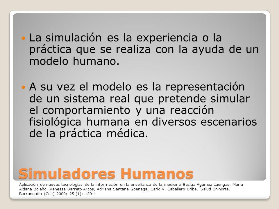 Simuladores Humanos La simulación es la experiencia o la práctica que se realiza con la ayuda de un modelo humano. A su vez el modelo es la representa