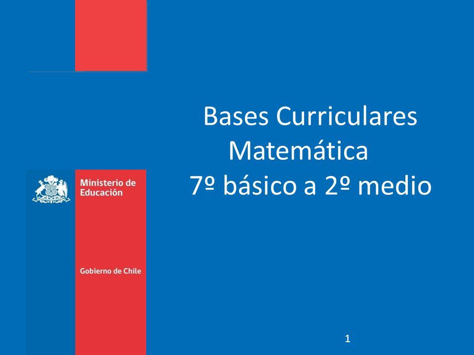 Enfoque Énfasis Estructura Habilidades Ejes Temáticos Objetivos de Aprendizaje Relación con las Bases Curriculares de Básica Ejemplos Lo que esperamos de los textos Bases Curriculares Educación Matemática 2014
