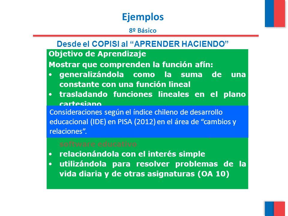 Ejemplos 8º Básico Desde el COPISI al APRENDER HACIENDO Objetivo de Aprendizaje Mostrar que comprenden la función afín: generalizándola como la suma d