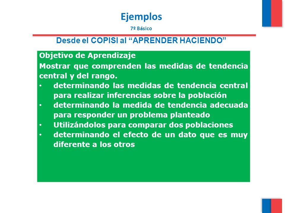 Ejemplos 7º Básico Desde el COPISI al APRENDER HACIENDO Objetivo de Aprendizaje Mostrar que comprenden las medidas de tendencia central y del rango. d