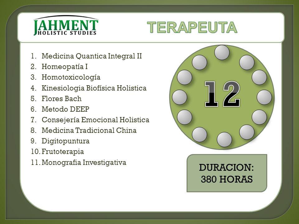 1.Medicina Quantica Integral II 2.Homeopatía I 3.Homotoxicología 4.Kinesiologia Biofísica Holistica 5.Flores Bach 6.Metodo DEEP 7.Consejería Emocional