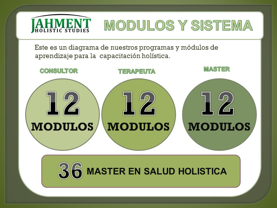Este es un diagrama de nuestros programas y módulos de aprendizaje para la capacitación holística. MODULOS MASTER EN SALUD HOLISTICA