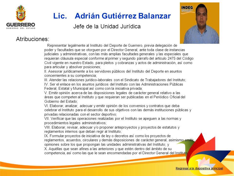 Regresar a la diapositiva principal I. Representar legalmente al Instituto del Deporte de Guerrero, previa delegación de poder y facultades que se oto