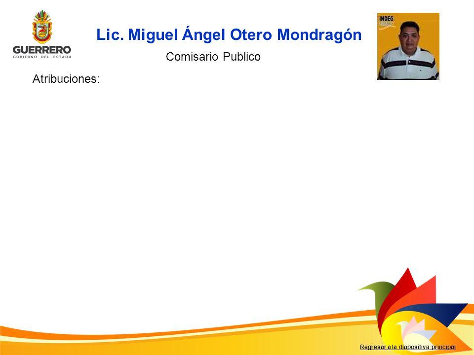 Lic. Miguel Ángel Otero Mondragón Regresar a la diapositiva principal Comisario Publico Atribuciones: