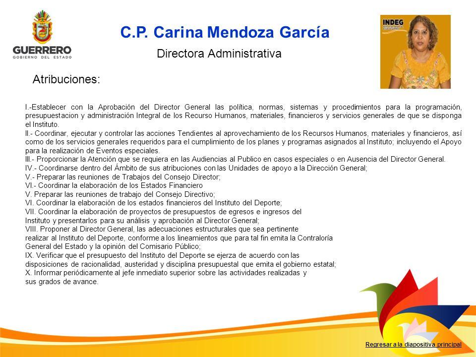 Regresar a la diapositiva principal I.-Establecer con la Aprobación del Director General las política, normas, sistemas y procedimientos para la progr