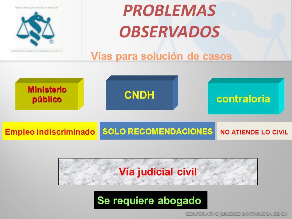 PROBLEMAS OBSERVADOS Ministerio público CONSIGNACIONES INFUNDADAS CONSIGNACIONES INFUNDADAS MALA INTEGRACION DE AVERIGUACIONES MALA INTEGRACION DE AVE