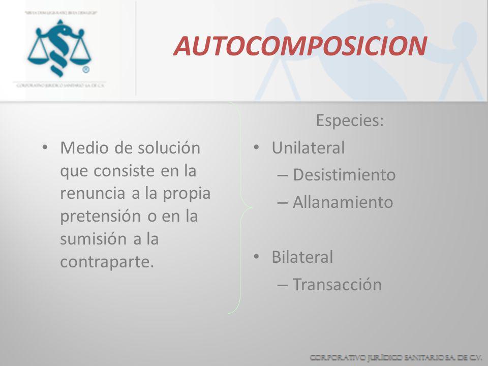 EQUIVALENTES JURISDICCIONALES* Autocomposición (Por obra de las partes) Desistimiento Allanamiento Transacción Heterocomposición (Intervención de un t