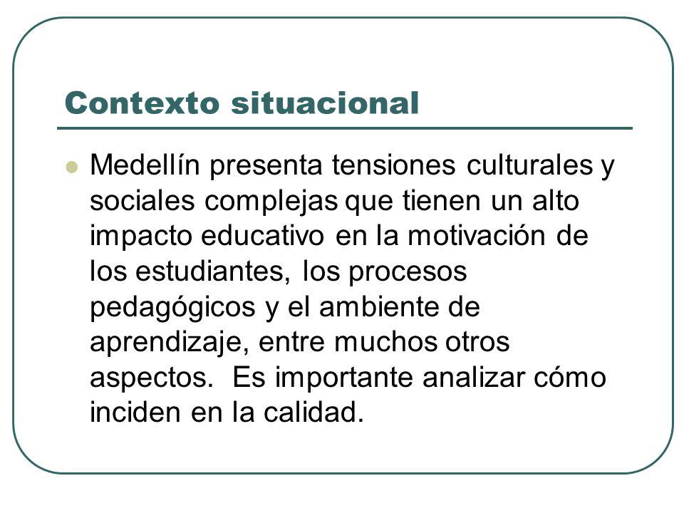 Contexto situacional Medellín presenta tensiones culturales y sociales complejas que tienen un alto impacto educativo en la motivación de los estudian