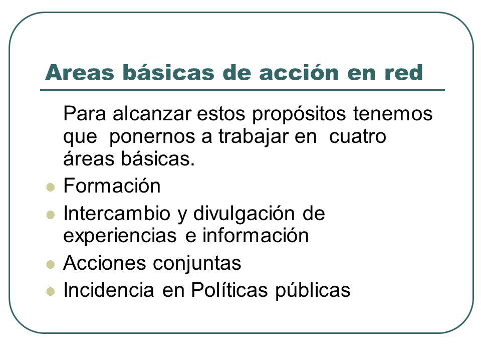Areas básicas de acción en red Para alcanzar estos propósitos tenemos que ponernos a trabajar en cuatro áreas básicas. Formación Intercambio y divulga