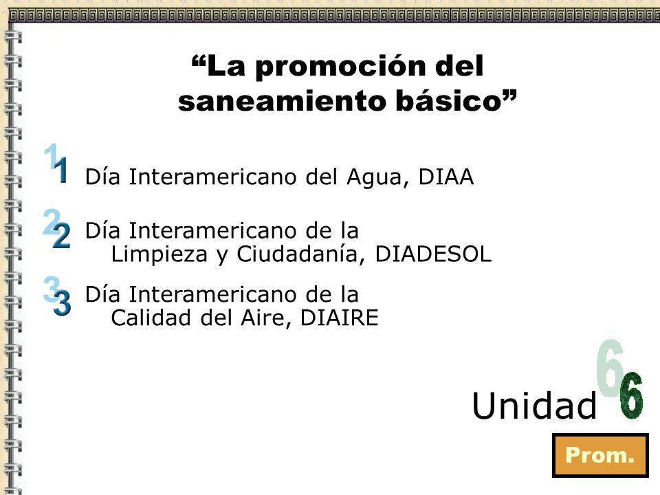Prom. Unidad La promoción del saneamiento básico Día Interamericano de la Limpieza y Ciudadanía, DIADESOL Día Interamericano del Agua, DIAA Día Intera