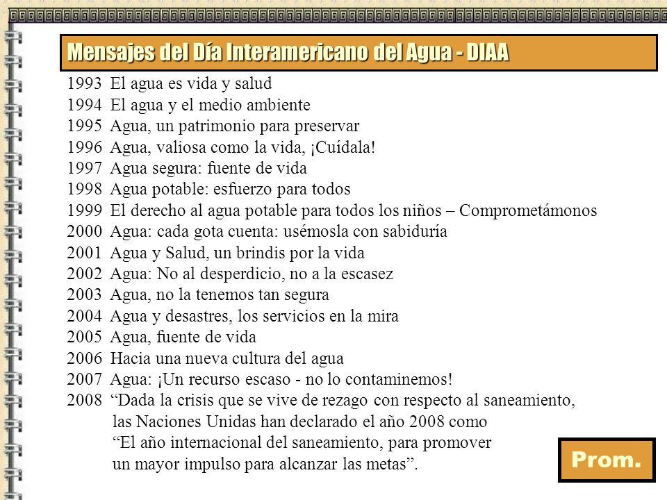 Mensajes del Día Interamericano del Agua - DIAA 1993 El agua es vida y salud 1994 El agua y el medio ambiente 1995 Agua, un patrimonio para preservar