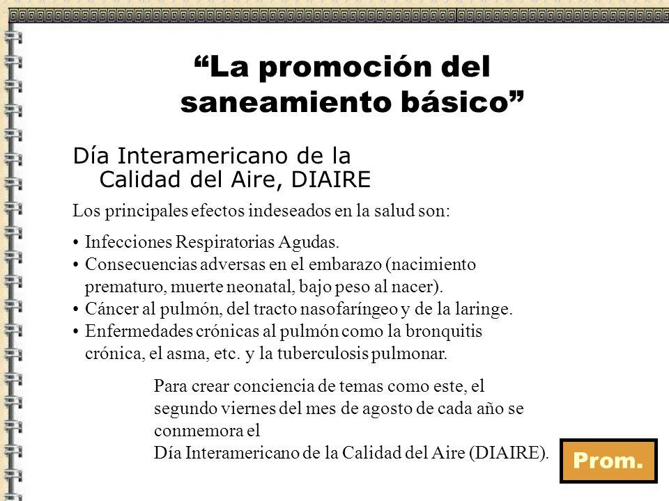 Prom. La promoción del saneamiento básico Día Interamericano de la Calidad del Aire, DIAIRE Para crear conciencia de temas como este, el segundo viern