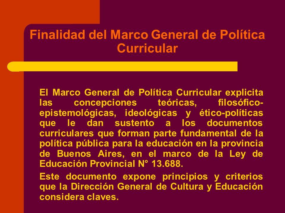 Finalidad del Marco General de Política Curricular El Marco General de Política Curricular explicita las concepciones teóricas, filosófico- epistemoló