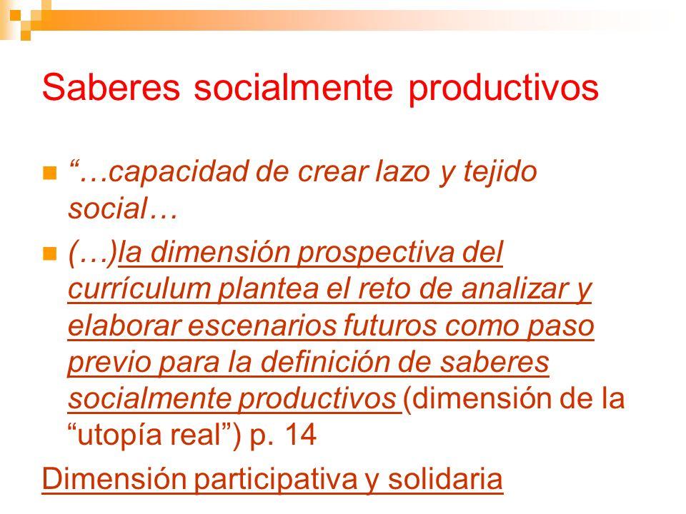 Saberes socialmente productivos …capacidad de crear lazo y tejido social… (…)la dimensión prospectiva del currículum plantea el reto de analizar y ela