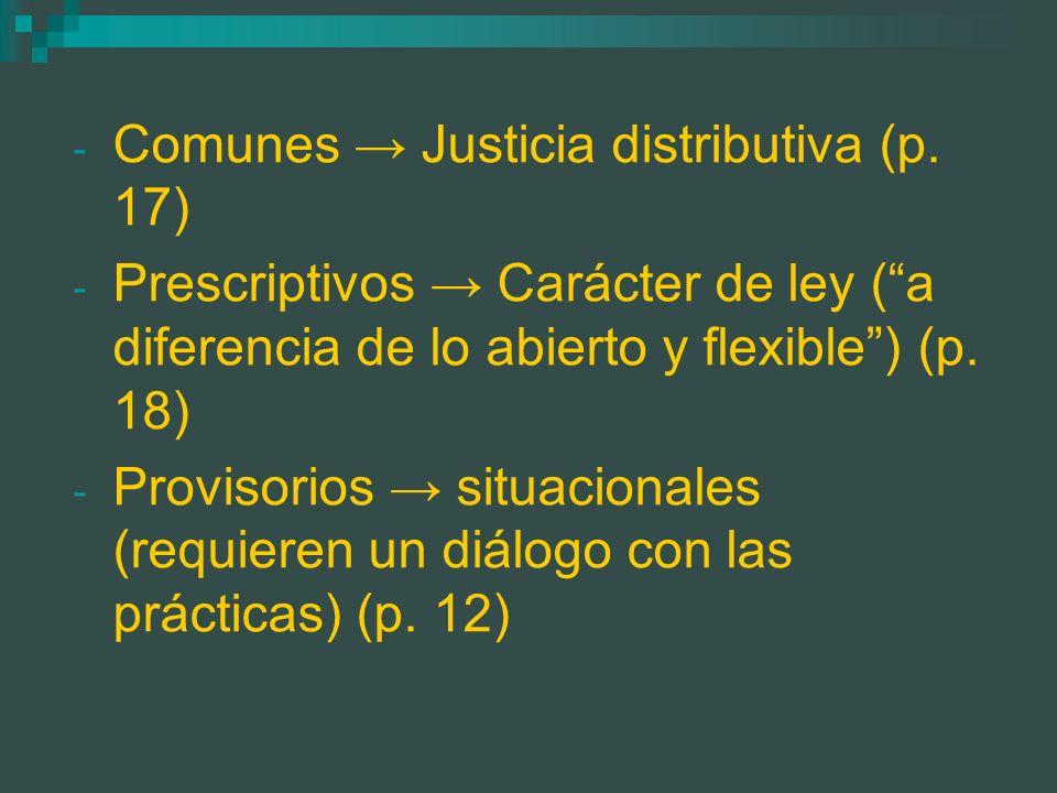 - Comunes Justicia distributiva (p. 17) - Prescriptivos Carácter de ley (a diferencia de lo abierto y flexible) (p. 18) - Provisorios situacionales (r