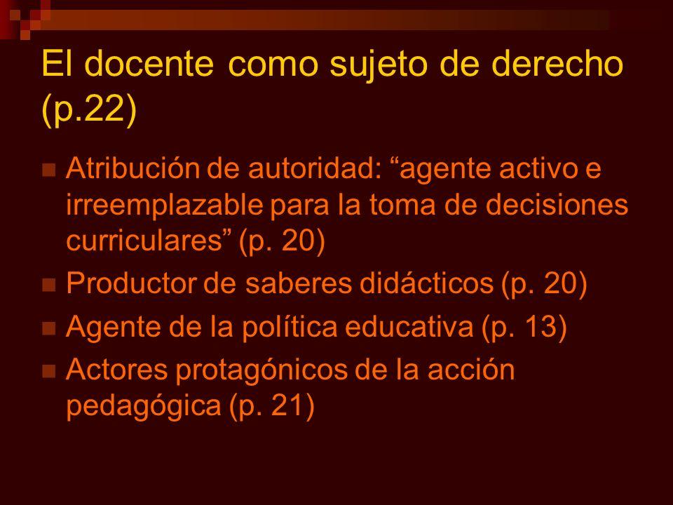 El docente como sujeto de derecho (p.22) Atribución de autoridad: agente activo e irreemplazable para la toma de decisiones curriculares (p. 20) Produ