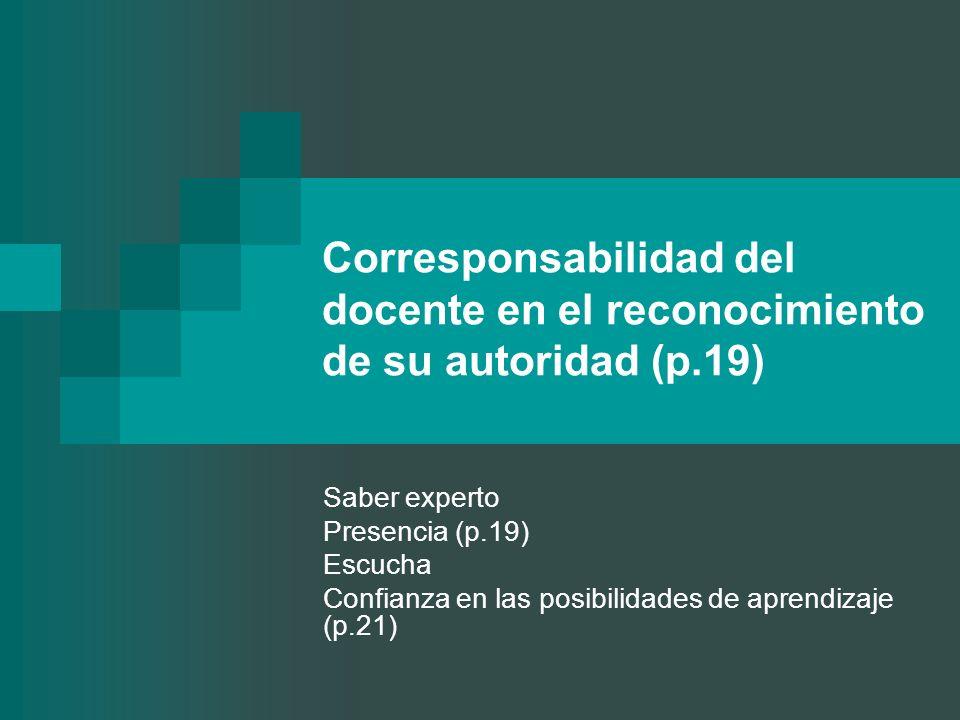 Corresponsabilidad del docente en el reconocimiento de su autoridad (p.19) Saber experto Presencia (p.19) Escucha Confianza en las posibilidades de ap